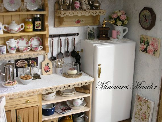 Miniature Dollhouse Kitchen RoomBox Old Style Fully by Minicler ...