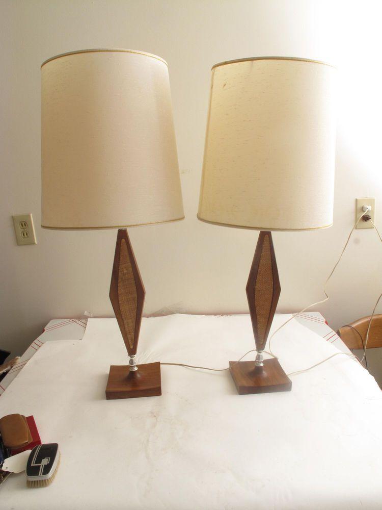 VTG Mid Century DANISH Modern TEAK & CANE TABLE LAMPS W/ SHADES SCULPTURAL BASE