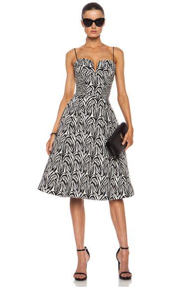 NICHOLAS|Zebra Jacquard Ball Cotton-Blend Skirt in White & Black