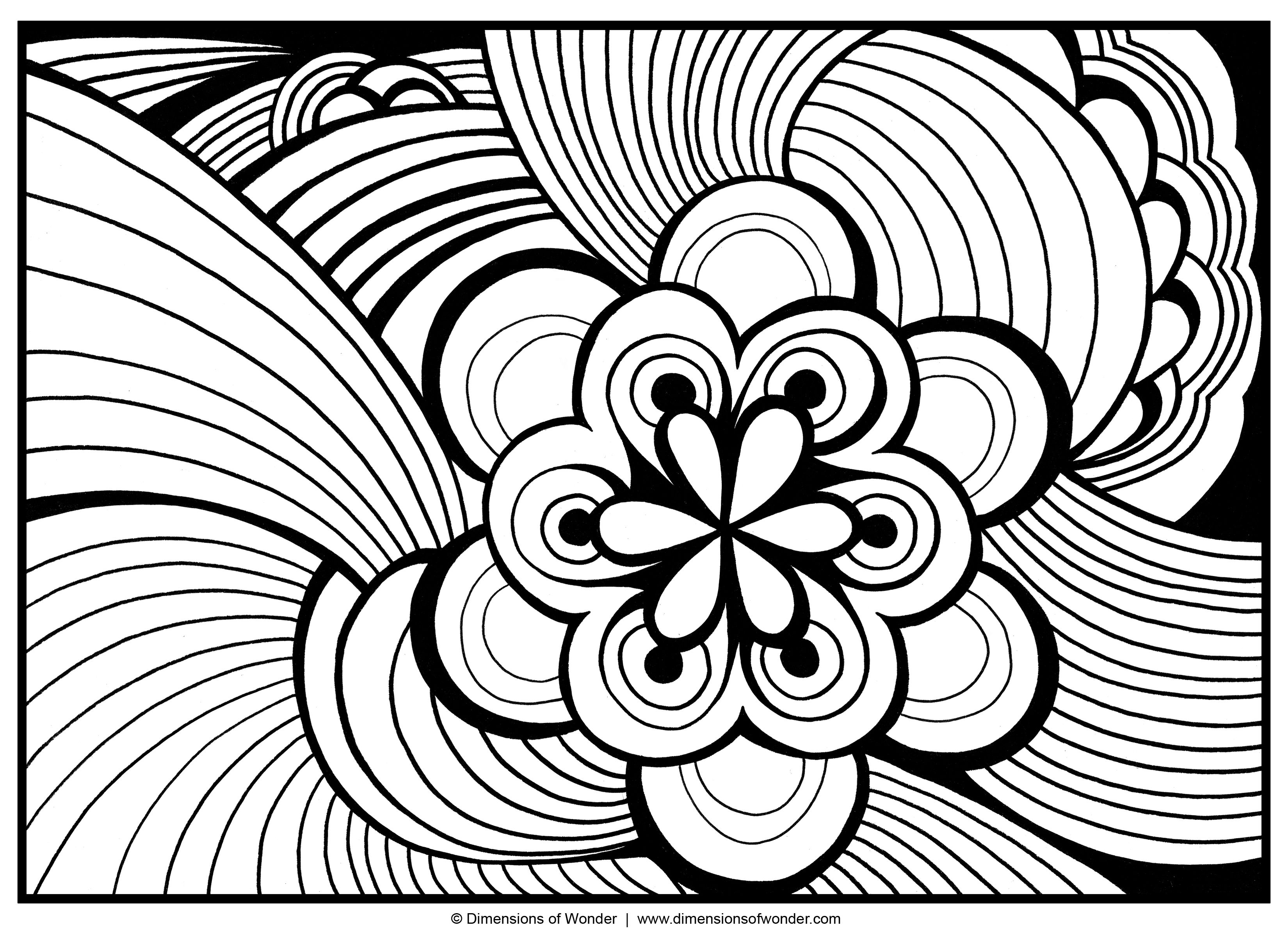 Abstract flower coloring pages -