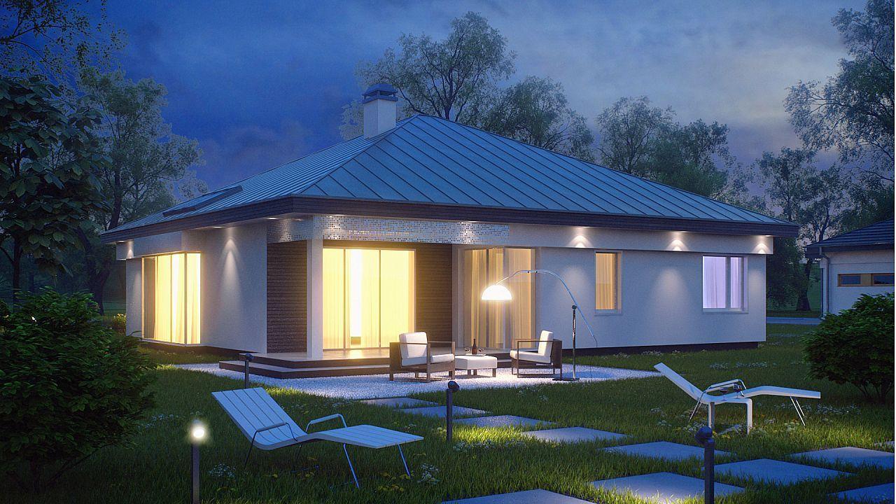Moderna casa de 1 planta con techo a cuatro aguas y 166 m2 for Techos planos modernos