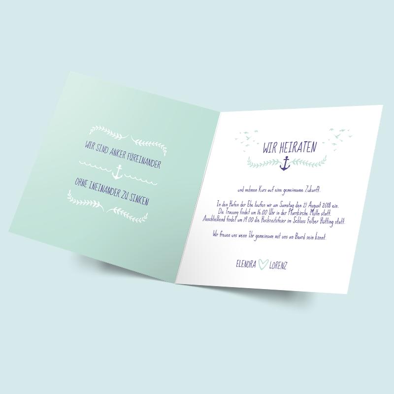 Hochzeitseinladung Anker Füreinander   Für Eine Maritime Hochzeit