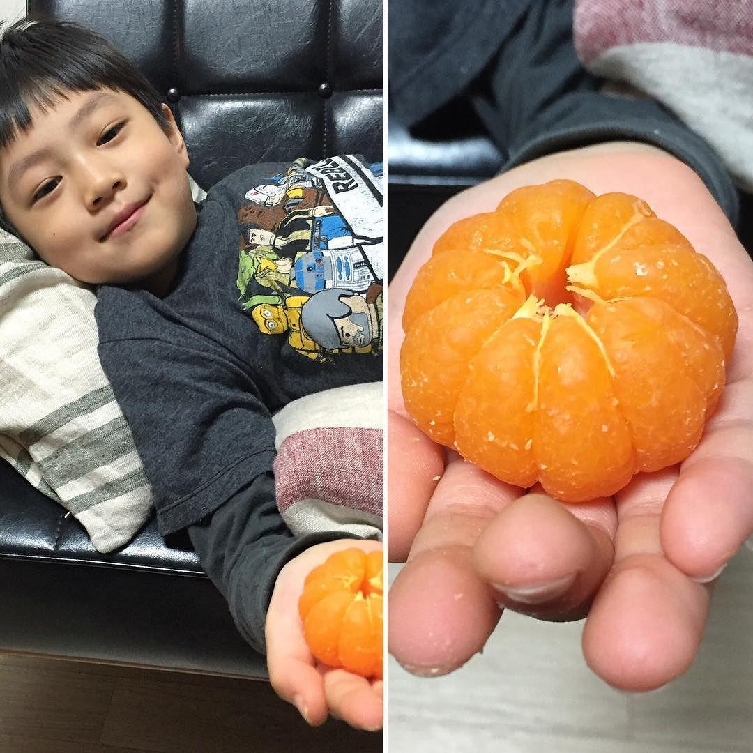 감기 걸린 어린이의 귤 까먹는 모양새 #거듭할수록선명한주황색 #귤 #과일 #아들 #일곱살어린이 #소년 #집 #orange #mandarineorange #fruit #son #sevenyearsold #boy #home by kyungeun35