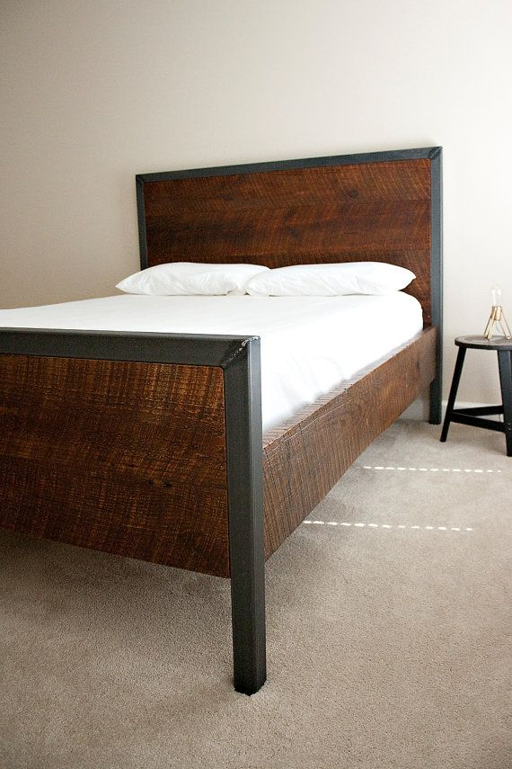Modern Queen Bed Reclaimed Wood And Raw Steel Dylan By Dylangrey