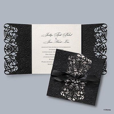 100 Black and Ivory Custom Laser Cut Swirls Wedding Invitations Vintage / Elegant Look on Etsy, $674.96