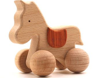 Beech Wooden Push Toy Unicorn for Toddlers