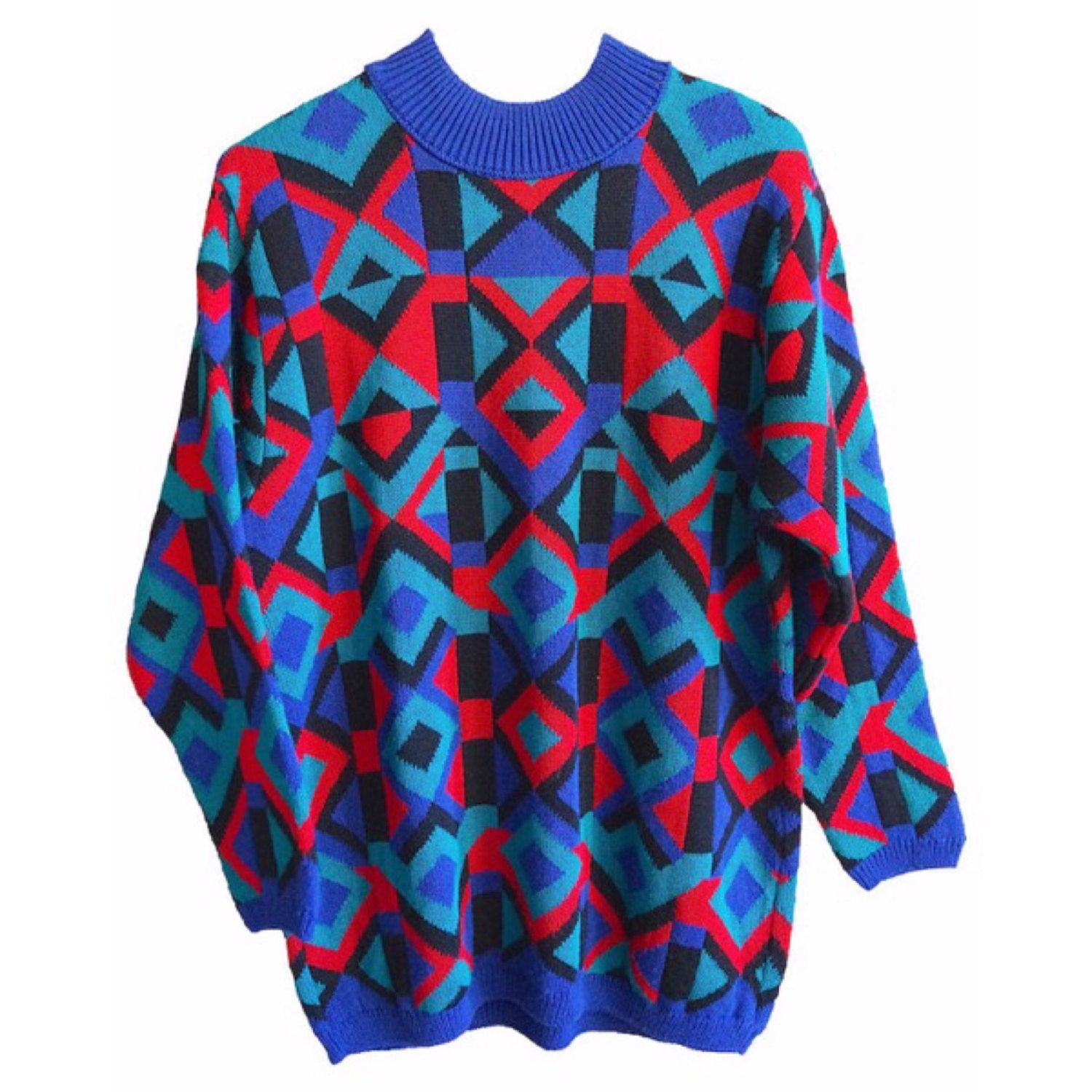 a62df702c5c347 Vintage Knit Wool Sweater Alfred Dunner mens womens size medium oversized  rad cable grandma grandpa america red blue turquoise baggy rad by ...
