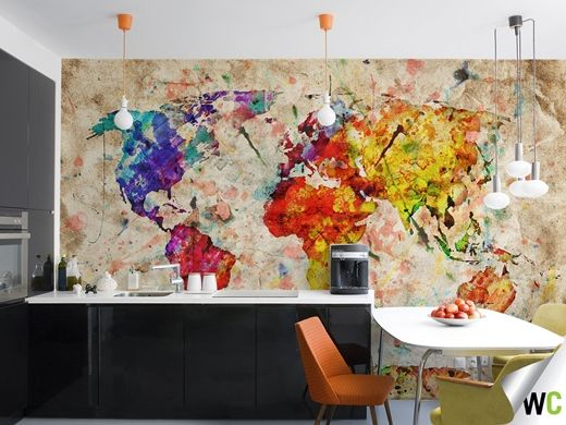 Colourful Wall Mural Of A World Map