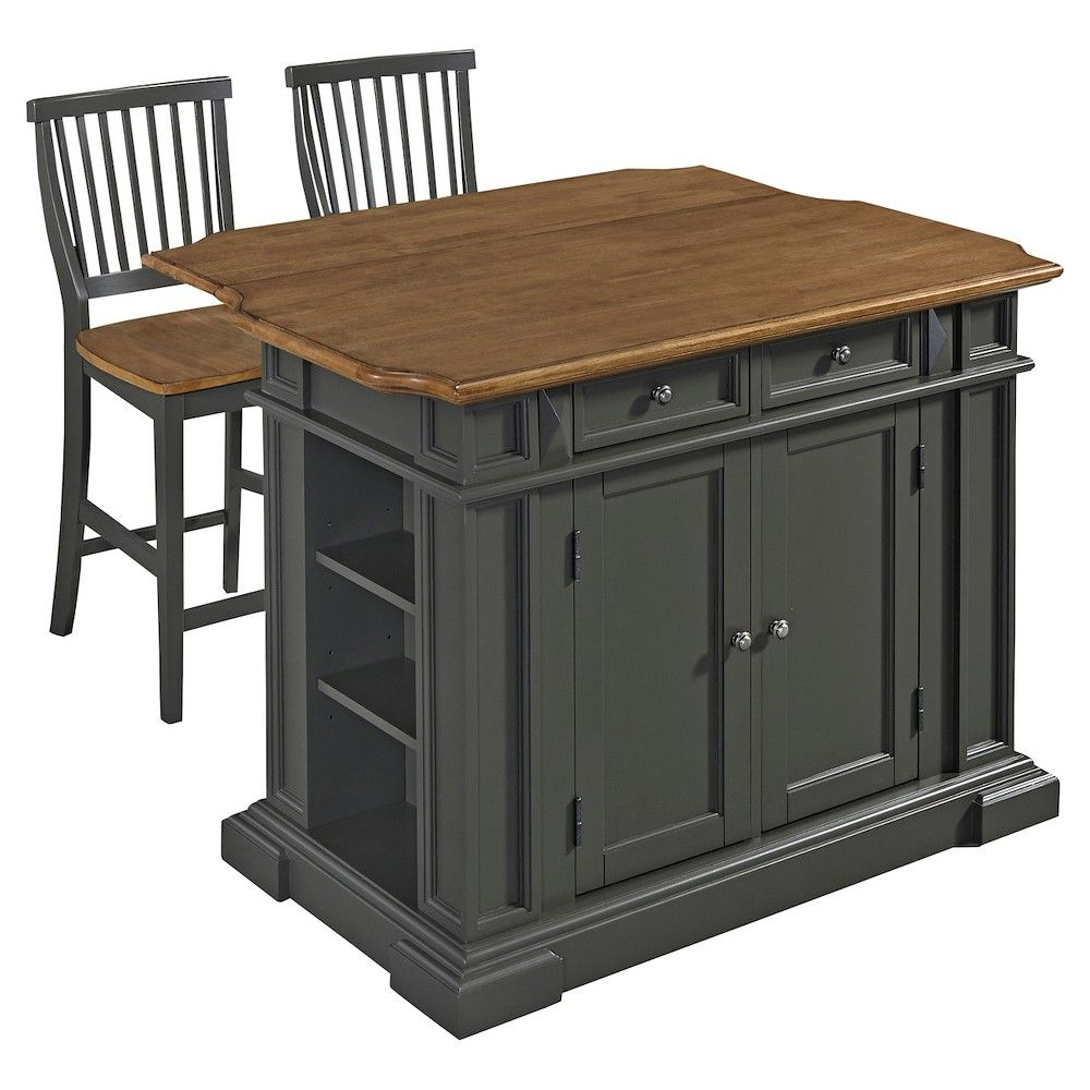Marvelous Americana Kitchen Island With 2 Stools Grey Home Styles Pabps2019 Chair Design Images Pabps2019Com