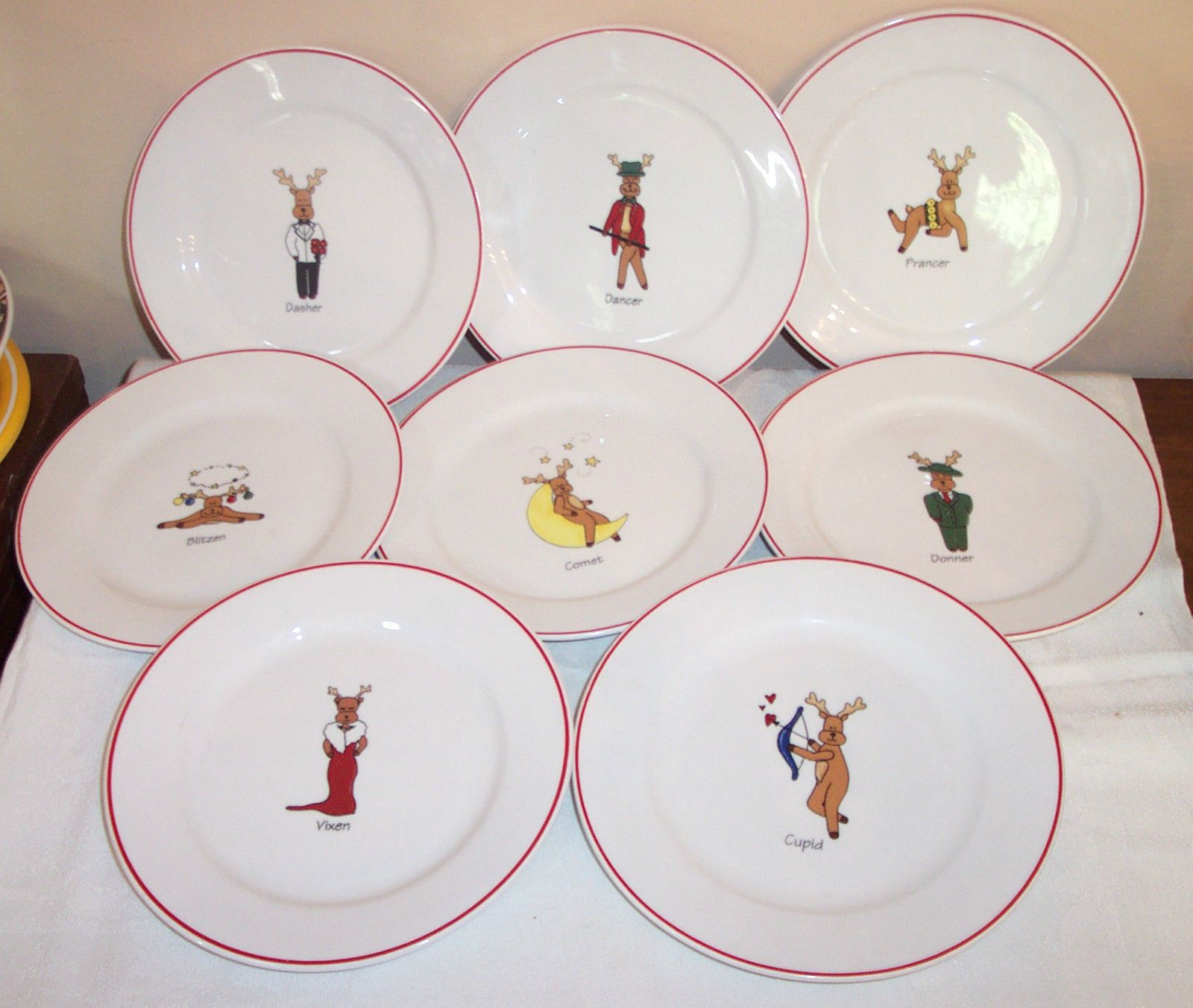 All 8 Christmas Reindeer 8 25 Salad Dessert Snack Plates Rainbow Mountain & All 8 Christmas Reindeer 8.25\