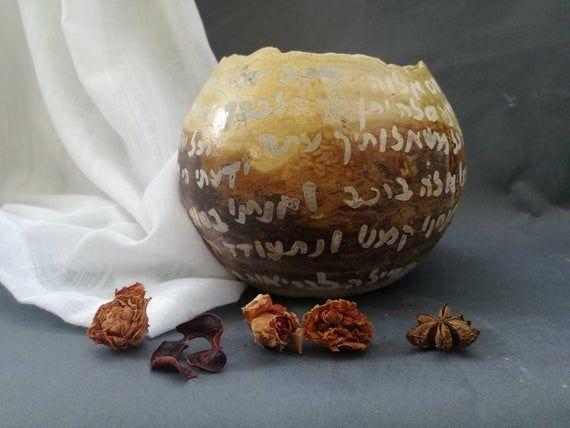 Judaica, Jewish art, hebrew letters, prayer for good health from the book of Psalms, ceramic rake bowl, jewish wedding, ceramic vase, raku