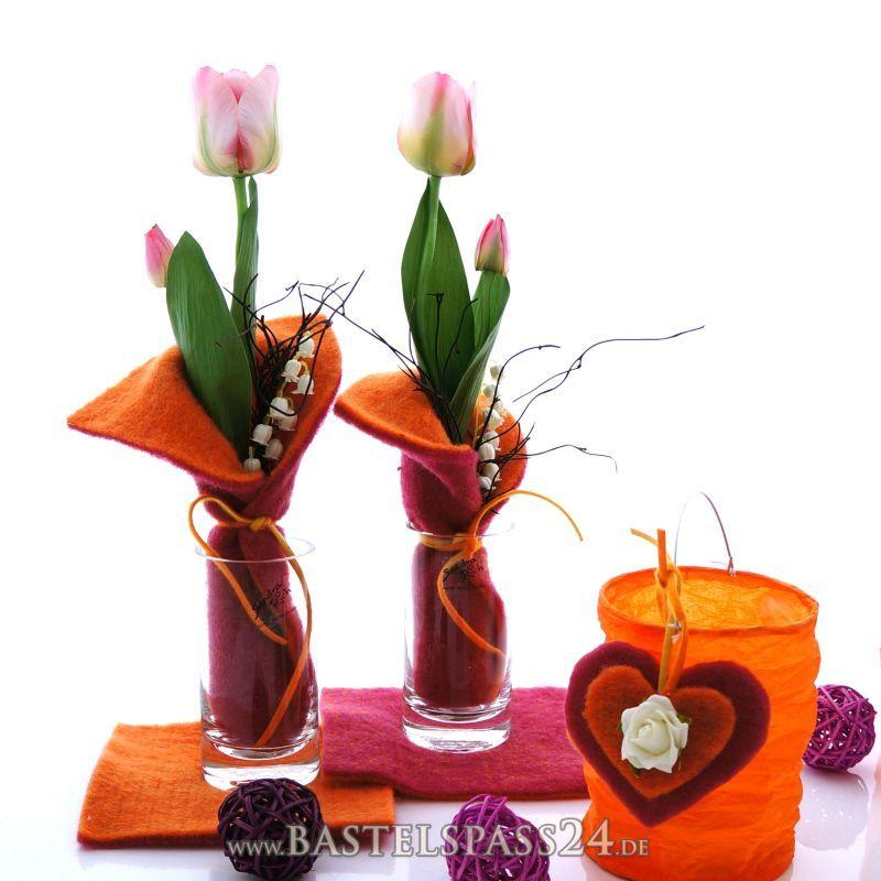 Tischdeko frühling selber basteln  Tischdeko Frühjahr selber machen mit Glasvasen,... | Bastelideen ...