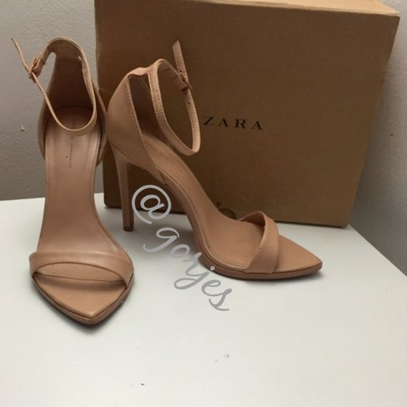 46850cb882b ZARA nude minimalist barely there strap heels Preowned and well taken care  of beauties. Infamous