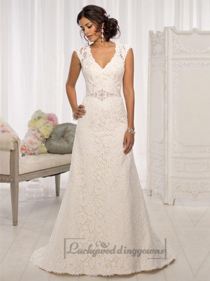 Elegant cap sleeves v neck a line wedding dresses with illusion back elegant cap sleeves v neck a line wedding dresses with illusion back junglespirit Gallery