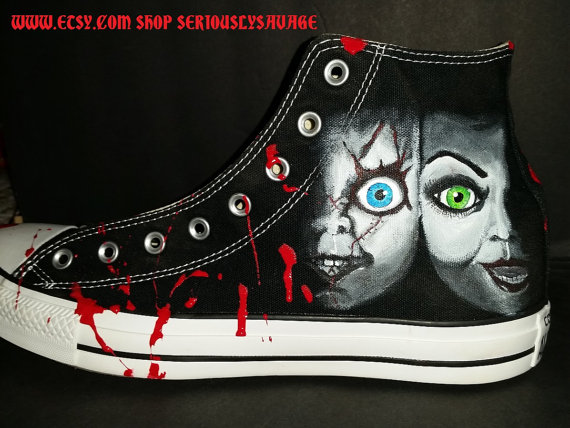 a2c27cf5330a Chucky and Bride Of Chucky Custom Painted Classic Horror Movies Vans  Converse Toms shoes. Bloody Fa