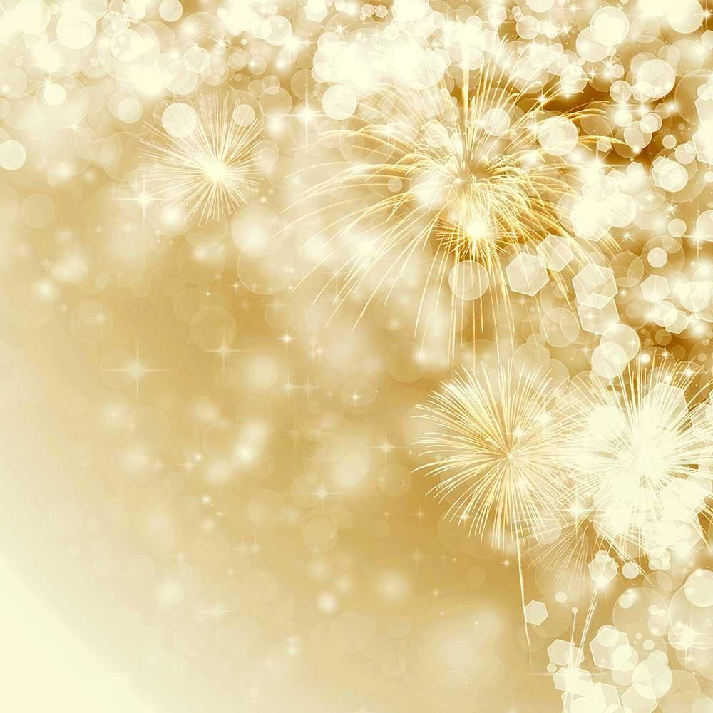 Golden Fireworks With Bokeh Sparkle For New Year