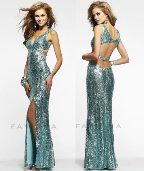 Sexy long seafoam sequin prom dress 2014 #prom2014 #faviana ...