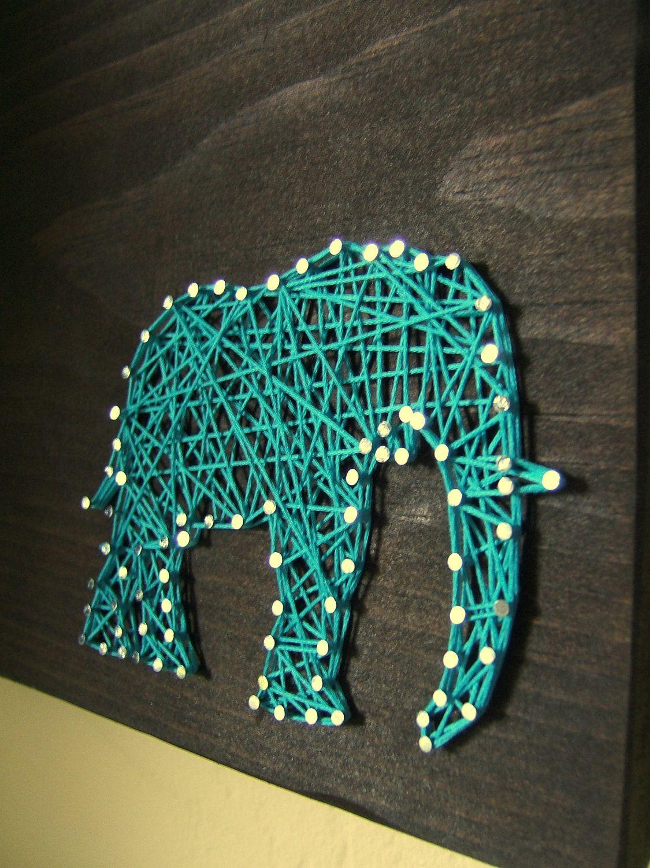 Diy Art Modern String Art Wooden Tablet Elephant Silhouette Via Etsy