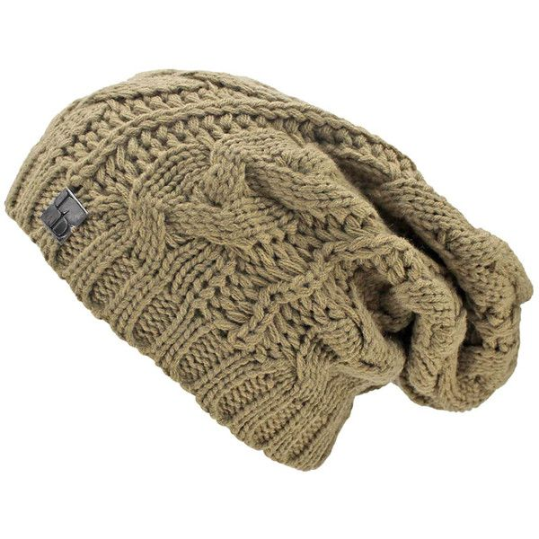 46820731f5415 Taupe Cable Knit Unisex Slouchy Beanie Cap Hat ( 15) ❤ liked on Polyvore  featuring
