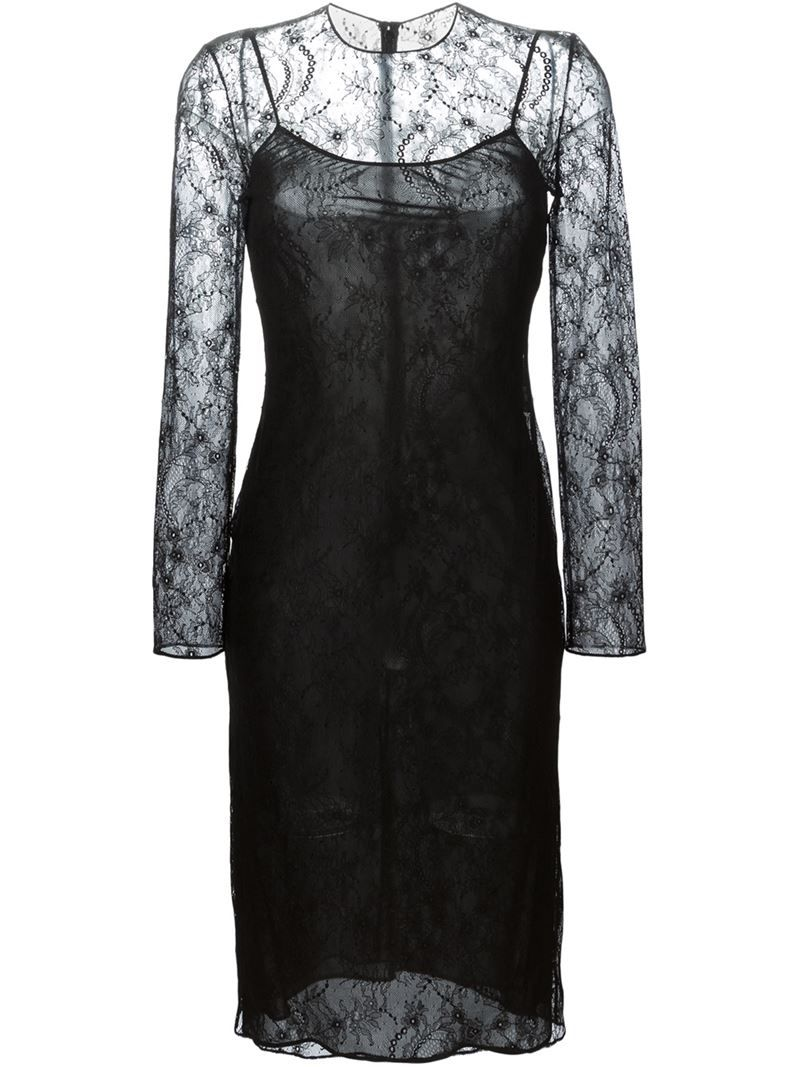 Givenchy fitted floral lace dress womenus size black viscose