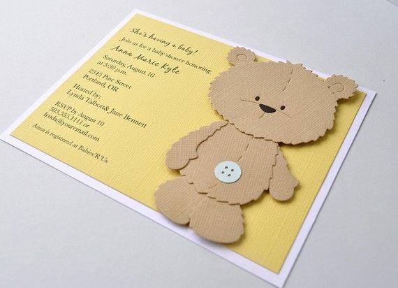 Reserved Listing Brown Teddy Bear Birthday Invitation