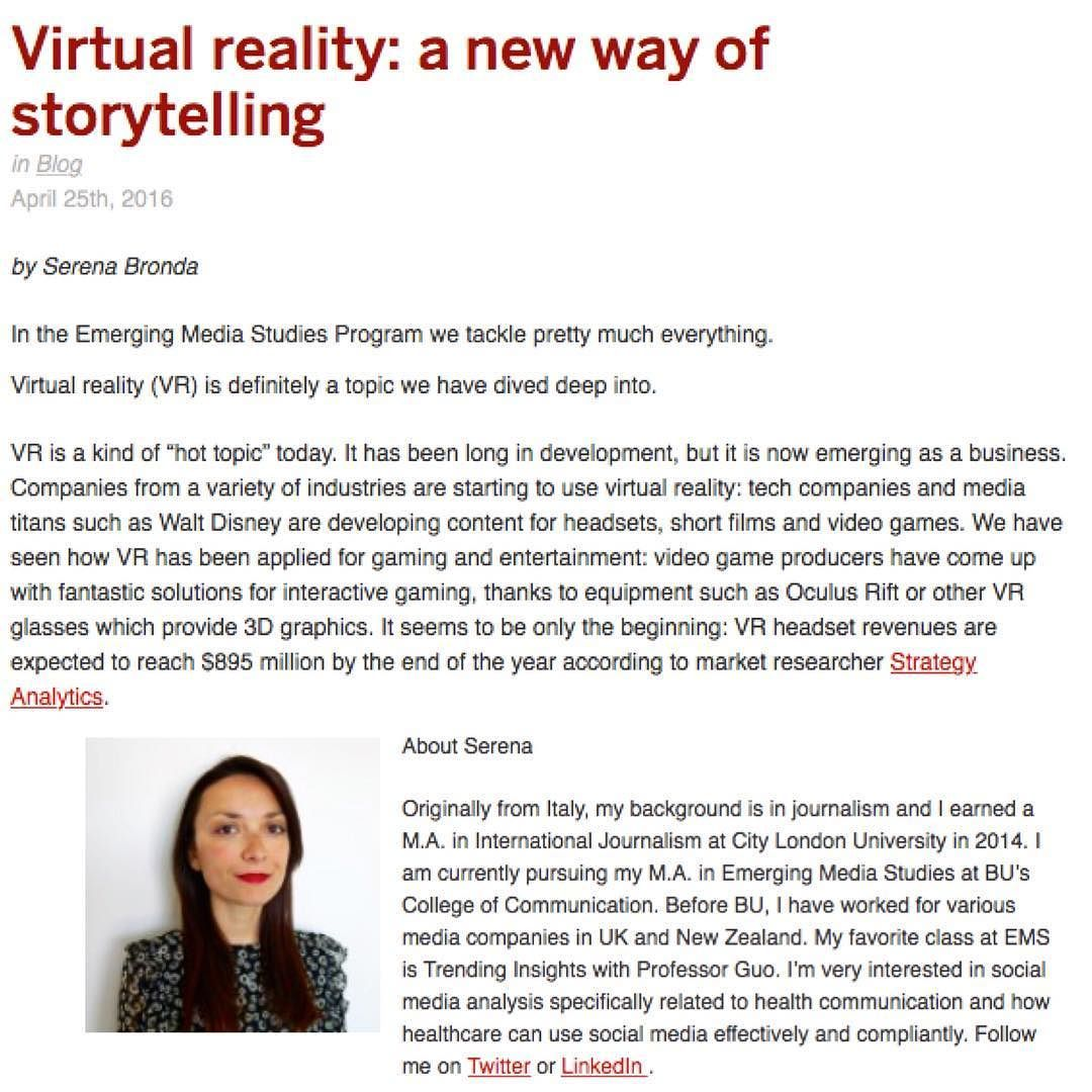Look what cool stuff we deal with @emergingmediastudies! Our #gradstudent Serena has looked into #immersivejournalism and #virtualreality as a new way of storytelling and its effects on users. Take a look at her blog post! Find the link in the profile. #vr #journalism #onlinejournalism #research #socialmedia #newmedia #emergingmediastudies #ems #proudtobu #bostonuniversity #bostonuniversitycampus #technology #newtechnology #vrapp @comugrad @bostonu @bucommunicator by emergingmediastudies…