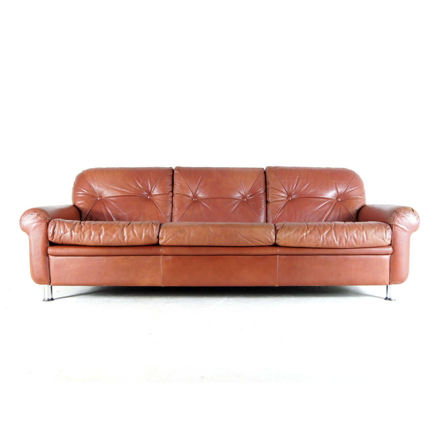 Retro Vintage Danish Chesterfield Style 3 Seat Seater