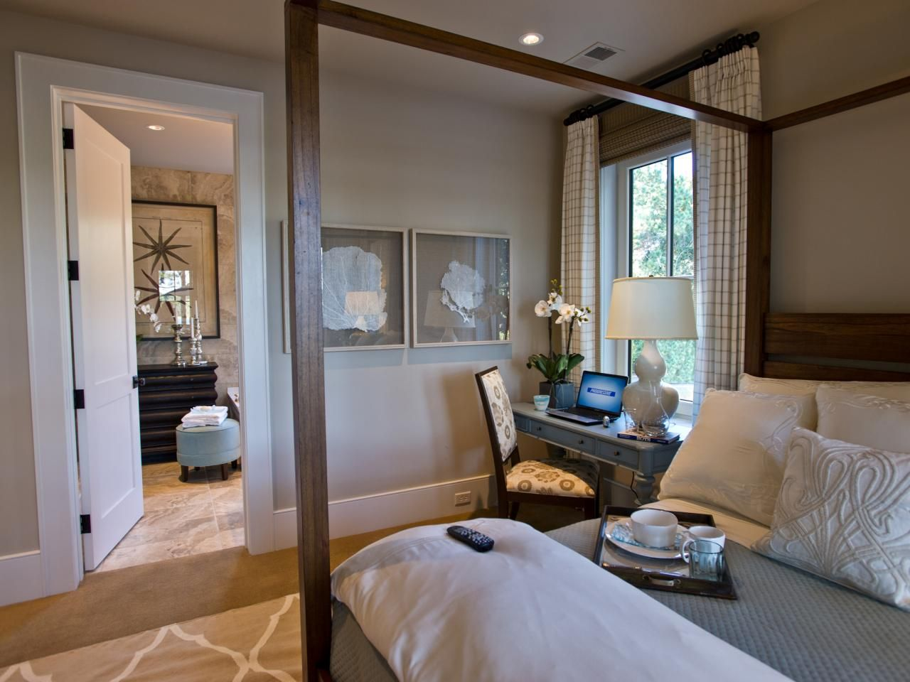 This modern master bedroom features a dreamy neutral color ...