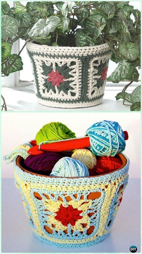 Crochet Plant Pot Cozy Cover Free Patterns & Instructions   Cajas ...