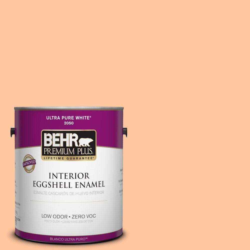 BEHR Premium Plus 1-gal. #260B-4 Orange Sherbet Zero VOC Eggshell Enamel Interior Paint