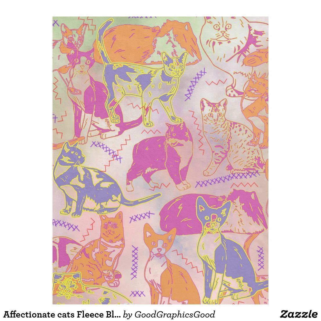 Affectionate cats fleece blanket medium cat blanket