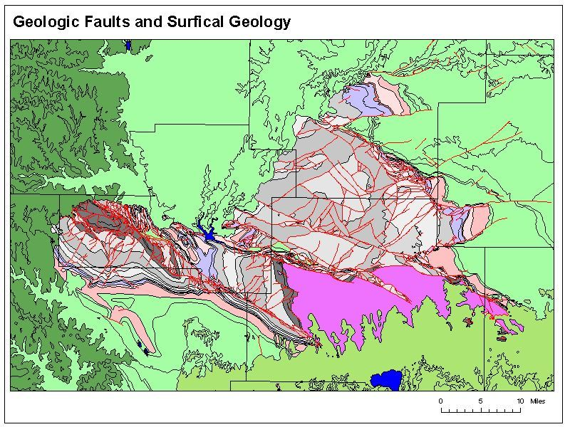 showing array of faults (red lines) in the Arbuckles of Oklahoma ...