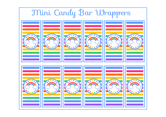 Free rainbow mini candy bar wrappers rainbow party for Free mini candy bar wrapper template