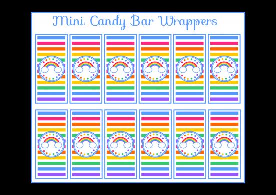 Free rainbow mini candy bar wrappers rainbow party for Free mini candy bar wrapper template