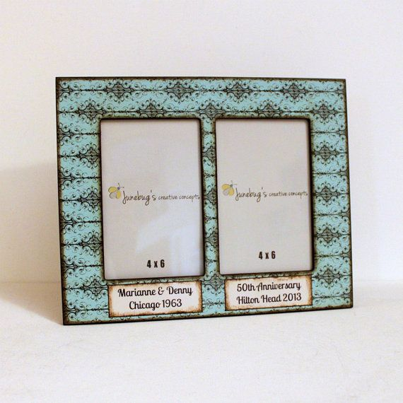 4x6 Double Photo Frame Turquoise Black Scroll by JunebugsCC, $28.00 ...