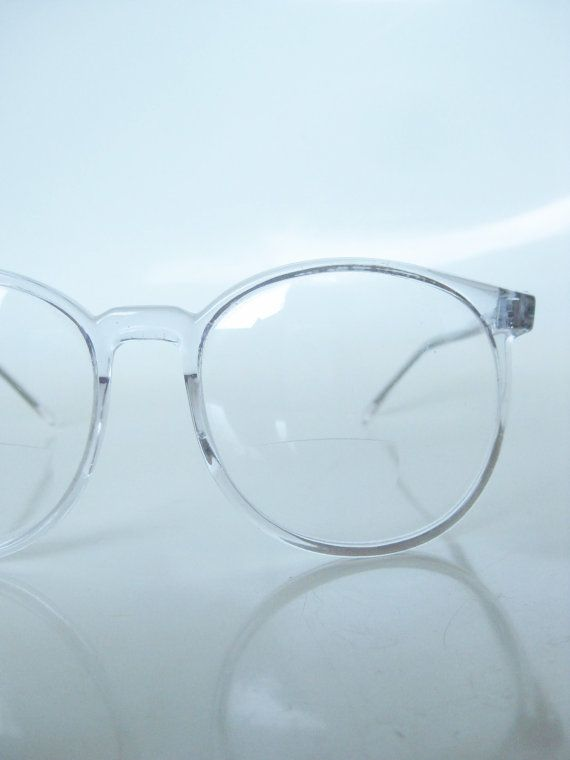 746d60dfec Vintage Clear Round Eyeglasses 1970s Oversized Wayfarer Ice Glass Crystal  Indie Hipster Geek Chic 70s Round Reading Glasses Sunglasses