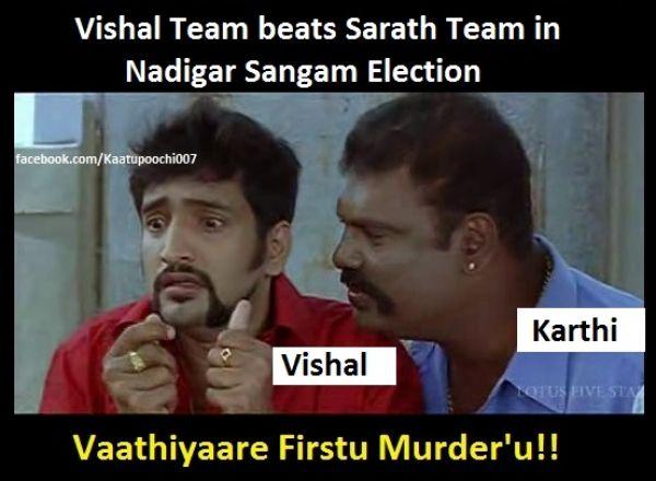 Vishal Team Beats Sarath Kumar Team Tamil Memes Trolls Vadivelu Memes Funny Memes Memes