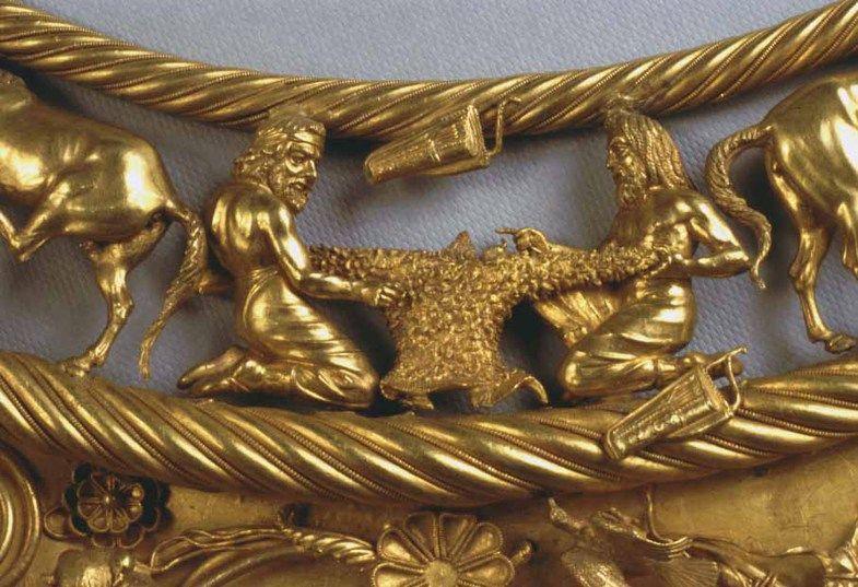 The Scythian Gold Pectoral from Tovsta Mohyla - two Scythians making a sheepskin coat