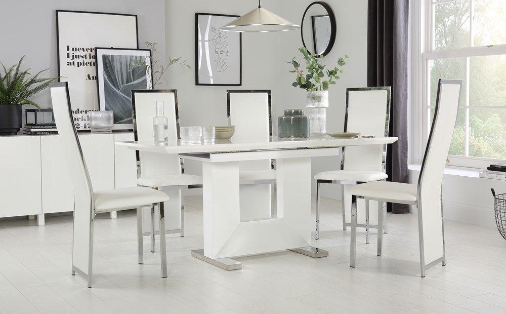 Florence White High Gloss Extending Dining Table With 4 Celeste