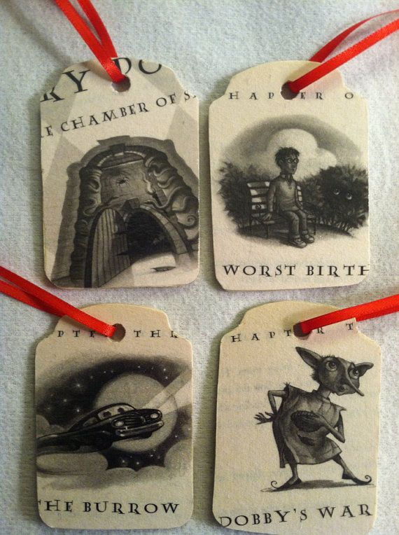 Harry Potter Christmas Ornaments/Gift Tags - Chamber of Secrets set of 4 on wood on Etsy, $16.00