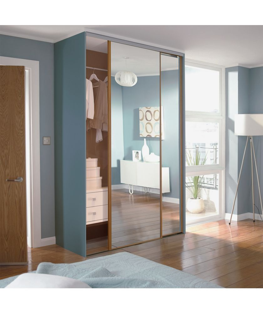 Buy Oak Mirror Sliding Wardrobe Door Aura Kit - 2x24 Inch at Argos ...