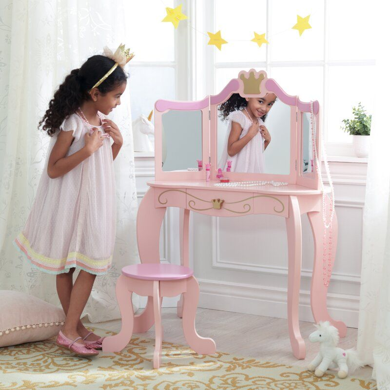Princess Vanity Set With Mirror In 2020 Vanity Set Vanity Set With Mirror Kidkraft Princess