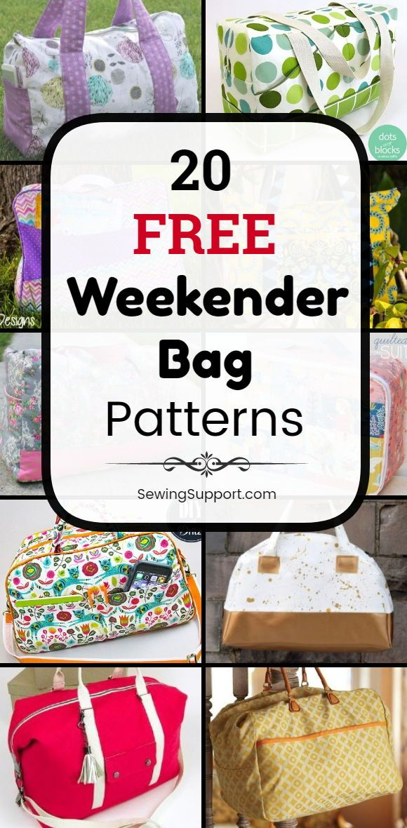 Bag Patterns. 20 free weekender bag sewing patterns, tutorials, and diy projects to sew. Make large overnight travel bags that can also be used as duffle tote bags for school, sports, gym, or dance class. #SewingSupport #Bag #Pattern #Sewing #Diy #Weekender #Travel #Overnight #bagpatterns