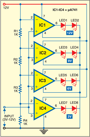 led voltmeter note you can use lm324 instead of 741 battery rh pinterest com
