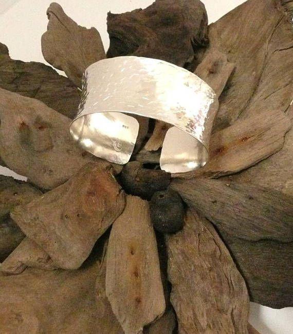 Hand Hammered Sterling Silver Cuff Bracelet ModernMetal #SterlingSilverFindings