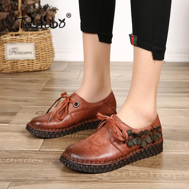 Womens Driving Loafers Moccasin Oxford Leather Casual Shoes Wedge Slip On Shoes