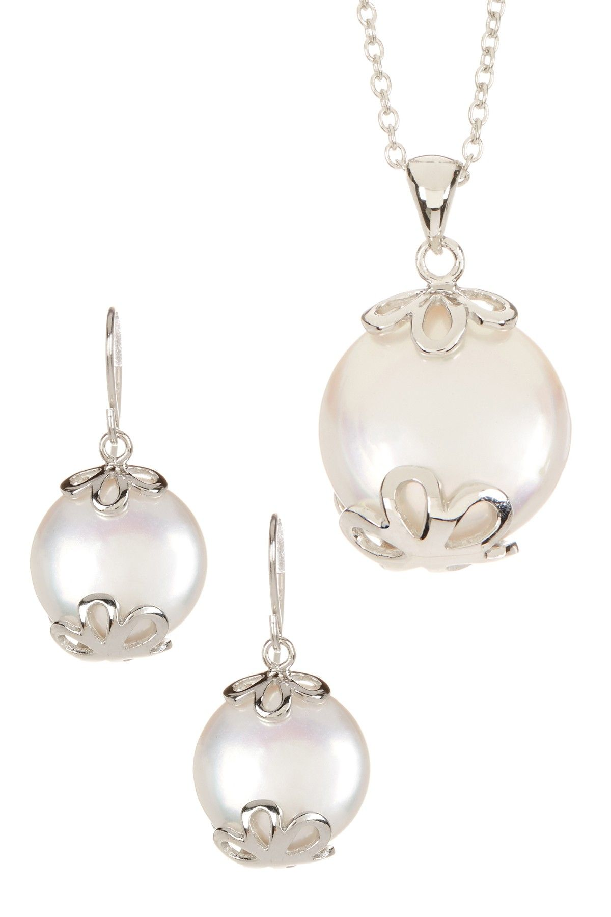 Splendid Pearls 14-14.5mm White Freshwater Coin Pearl Necklace & Dangle Earrings Set