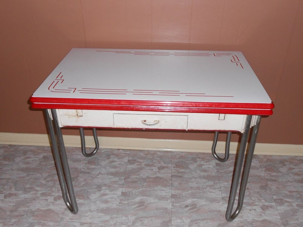 Vintage White W/ Red Trim Enamel Porcelain Leaf Kitchen Table W/ Drawer  1940u0027s