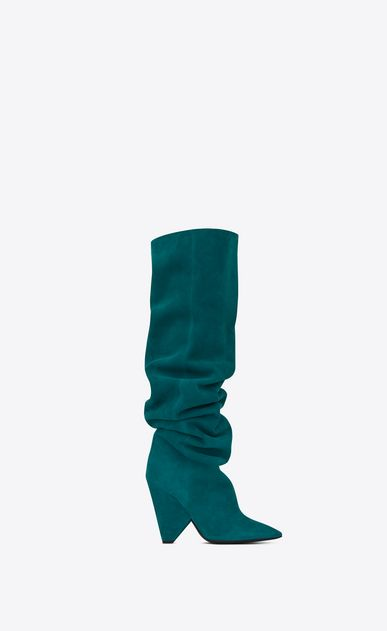 f8540d4de18 SAINT LAURENT Niki D NIKI 105 thigh-high boot in petrol blue suede a V4