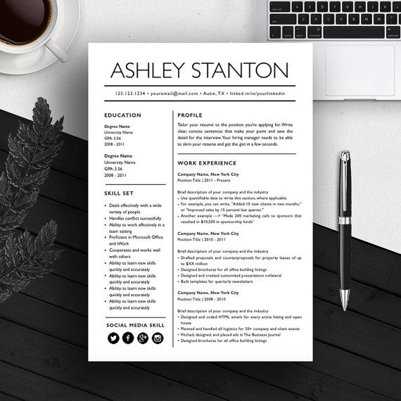 Resume Template CV Template Cover Letter For MS Word / iWork